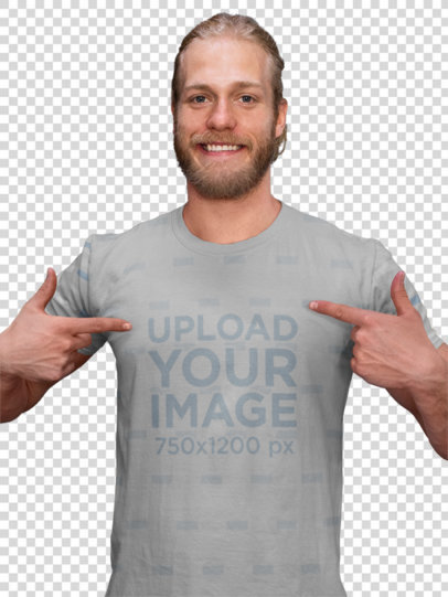 Transparent Mockup of a Man Showing His Sublimated Tee in Front of the Bars at a Gym 33056