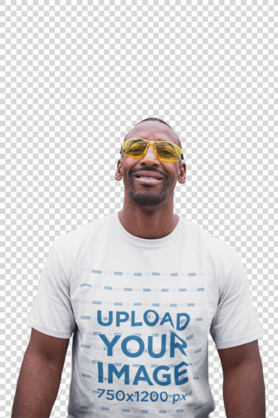 Transparent smiling warehouse worker wearing safety goggles and a t-shirt mockup a20449