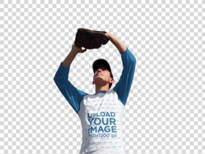 Transparent Baseball Uniform Designer - Boy Catching the Ball Outdoors a16370