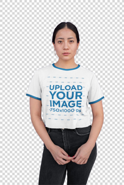 Transparent Mockup of a Woman Wearing a Ringer T-Shirt Against a Roller Door 27172