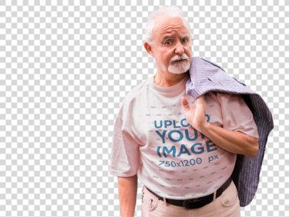 Transparent T-Shirt Mockup of a Senior Man with a Jacket Over his Shoulder a12386