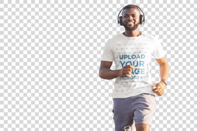 Transparent T-Shirt Mockup of a Bearded Man Running with Headphones 37945-r-el2