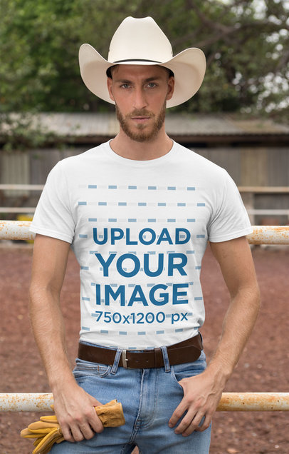 Transparent T-Shirt Mockup of a Cowboy with a Country Outfit 27977