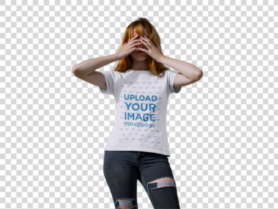 Transparent Girl Wearing a Halloween Tshirt Mockup While Covering her Face Against a White Wall a17105