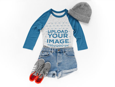 Transparent Raglan Tshirt Mockup Lying Next to Skater Clothes on a White Surface a17960