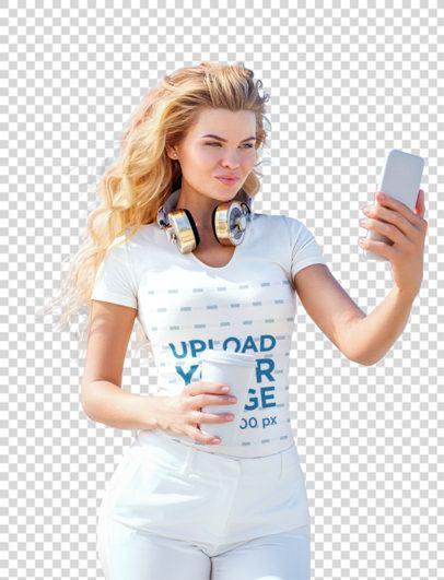 Transparent V-Neck Tee Mockup of a Blonde Woman Taking a Selfie on a Street 39041-r-el2