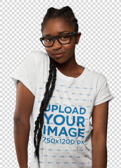 Transparent T-Shirt Mockup of a Shy Woman with Glasses 39261-r-el2