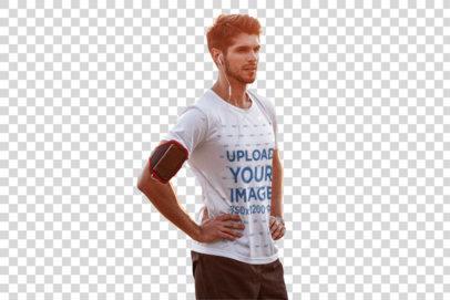 Transparent Mockup of a Runner Wearing a T-Shirt Outdoors 42741-r-el2