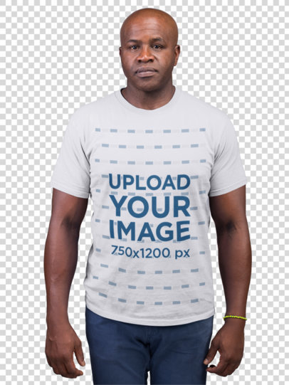 Transparent Mockup of a Serious Man Wearing a T-Shirt and Jeans 21476