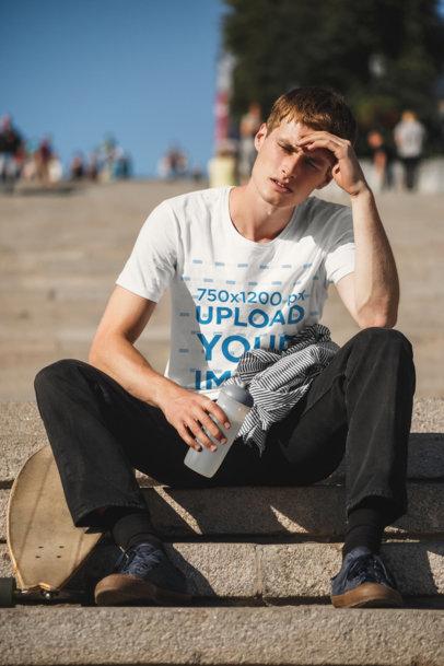 Transparent T-Shirt Mockup of a Skater Taking a Break 43186-r-el2