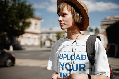 Transparent Mockup of a Woman with a Loose Tee Walking in a Foreign City 39694-r-el2