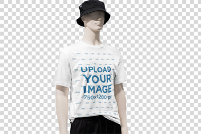 Transparent Mockup Featuring a Customizable T-Shirt on a Mannequin 3704-el1
