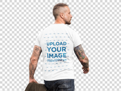 Transparent Mockup of the Back of a Middle Aged Man Wearing a Round Neck Tee at a Construction Site a9371b