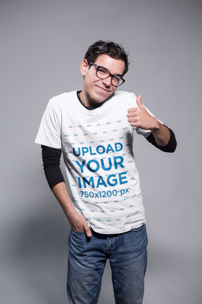 Transparent Nerd Guy Being Nice Wearing a T-Shirt Mockup at a Photo Studio a19364