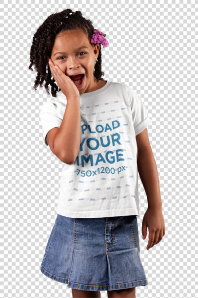 Transparent T-Shirt Mockup of a Little Girl With a Surprised Look 22075