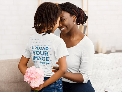 Transparent T-Shirt Mockup of a Little Girl Surprising Her Mom with Flowers 39236-r-el2