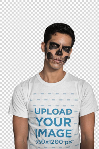 Transparent Mockup of a Man Wearing a T-Shirt and Skull Makeup 22942