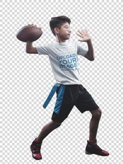 Transparent Custom Football Jerseys - Kid Throwing the Ball in Black Room a16492