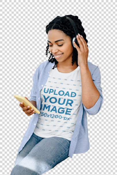Transparent Tee Mockup of a Woman at Home Listening to Music on Her Phone 39257-r-el2