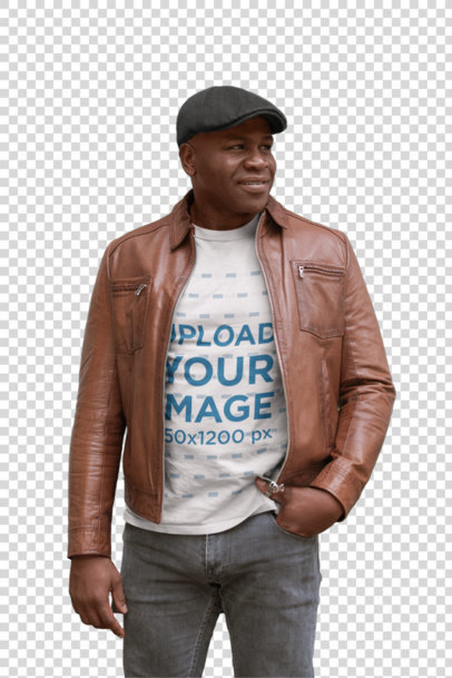 Transparent Round Neck Tee Mockup Featuring a Senior Black Man Wearing a Leather Jacket 21434