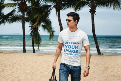 Transparent Mockup of a Man with Sunglasses Wearing a T-Shirt at the Beach 432-el