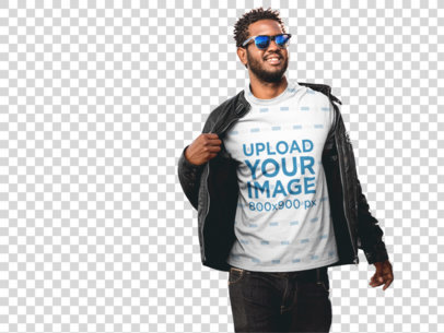 Transparent Mockup of a Stylish Black Man Wearing a T-Shirt With a Leather Jacket a9528