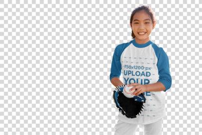 Transparent Three-Quarter Sleeve Tee Mockup of a Girl Playing Baseball for Fun 39384-r-el2