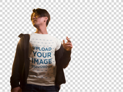 Transparent Handsome Man Wearing a T-Shirt Mockup while Crossing the Street a17835