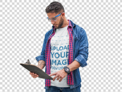 Transparent Manager Wearing a Tshirt Mockup and a Denim Jacket while Checking Stock a20442