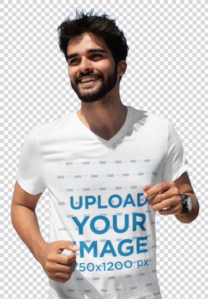 Transparent V-Neck Tee Mockup of a Young Bearded Man Running 41058-r-el2