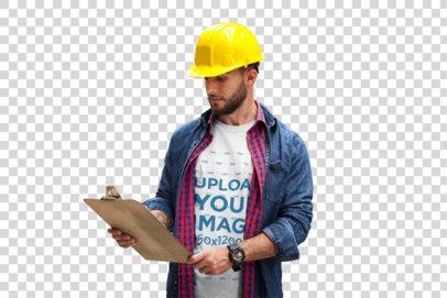 Transparent Supervisor Wearing a T-Shirt Mockup at the Warehouse a20381