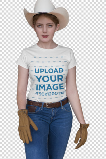 Transparent Mockup Featuring a Country Woman Wearing a T-Shirt in a Stable 27966
