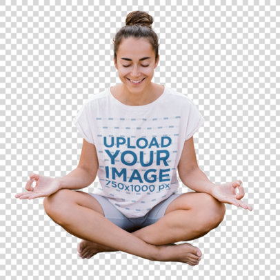 Transparent T-Shirt Mockup of a Woman Enjoying a Yoga Session in the Desert m1607-r-el2