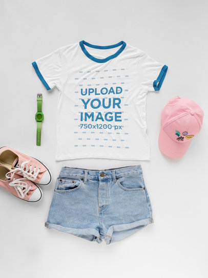 Transparent Pink Outfit with Ringer T-Shirt Mockup a17955
