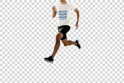 Transparent T-Shirt Mockup of a Man Running Featuring the Sea in the Background 37870-r-el2