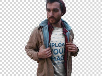 Transparent Sad Man Walking Outdoors Wearing a T-Shirt Mockup a19029