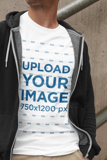 Transparent T-Shirt Mockup of a Young Man Wearing Casual Garments 2011-el1