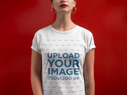 Transparent Closeup T-Shirt Mockup of a Woman Against a Red Wall 21316