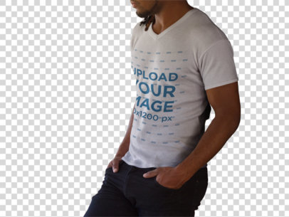 Transparent Young Black Man Wearing a V-Neck T-Shirt Mockup a8754