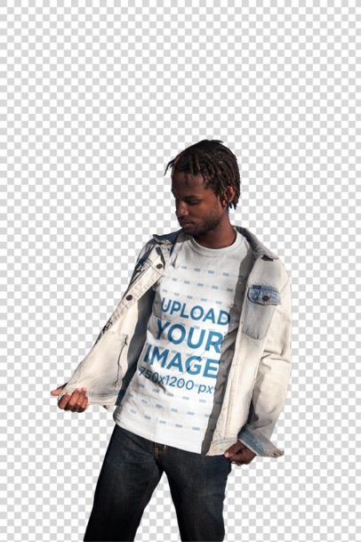 Transparent Mockup of a Cool Man with Locs Wearing a Tee and a Jean Jacket 20051