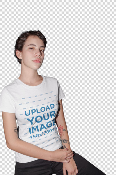 Transparent Tee Mockup of a Serious Short-Haired Woman with Tattoos 22210