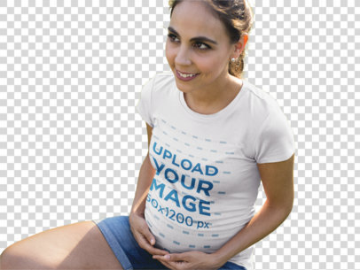 Transparent Facebook Ad - Happy Pregnant Mom Wearing a Round Neck Tee While at the Park a16335