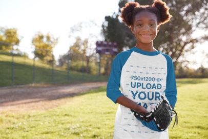 Transparent Raglan Tee Mockup of a Little Girl Playing Baseball 39383-r-el2