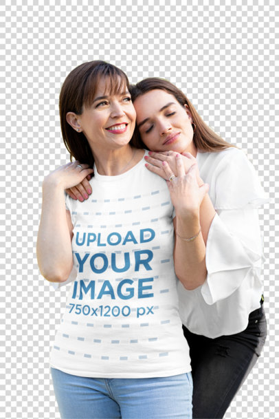 Transparent T-Shirt Mockup of a Woman Smiling While Her Daughter Hugs Her 32654