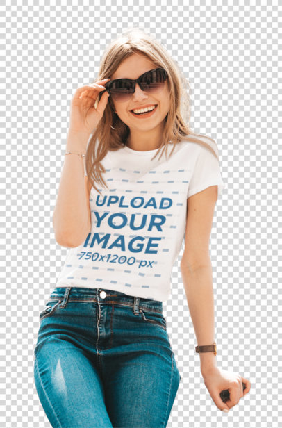 Transparent T-Shirt Mockup Featuring a Joyful Woman With Sunglasses Posing in the City m1375-r-el2