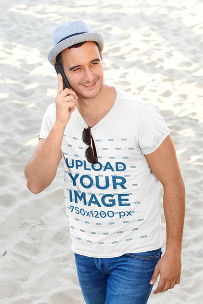 Transparent T-Shirt Mockup Featuring a Man on the Phone at the Beach 45142-r-el2