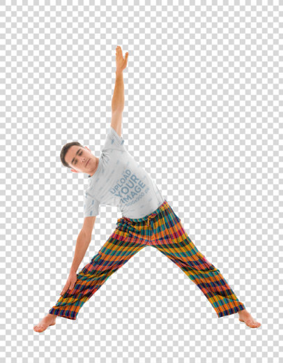 Transparent Sublimated T-Shirt Mockup of a Man with Colorful Pants Doing Yoga 38436-r-el2