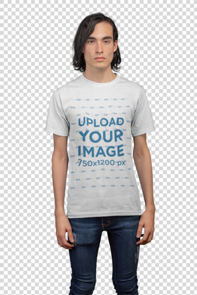 Transparent Front Shot Tshirt Mockup Featuring a Man with Black Hair in a Photo Studio 21145