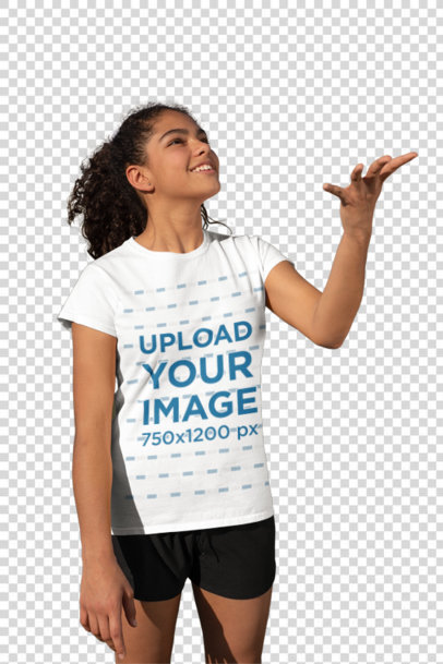 Transparent T-Shirt Mockup of a Girl at Soccer Training 33578