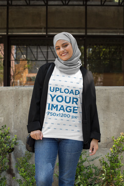 Transparent T-Shirt Mockup of a Woman with a Hijab and a Blazer 28404